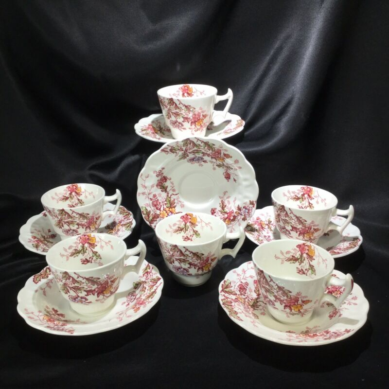 "6 Booths Washington Demitasse Teacup 2 3/8"" High Ridgway English Garden Tea Cup"