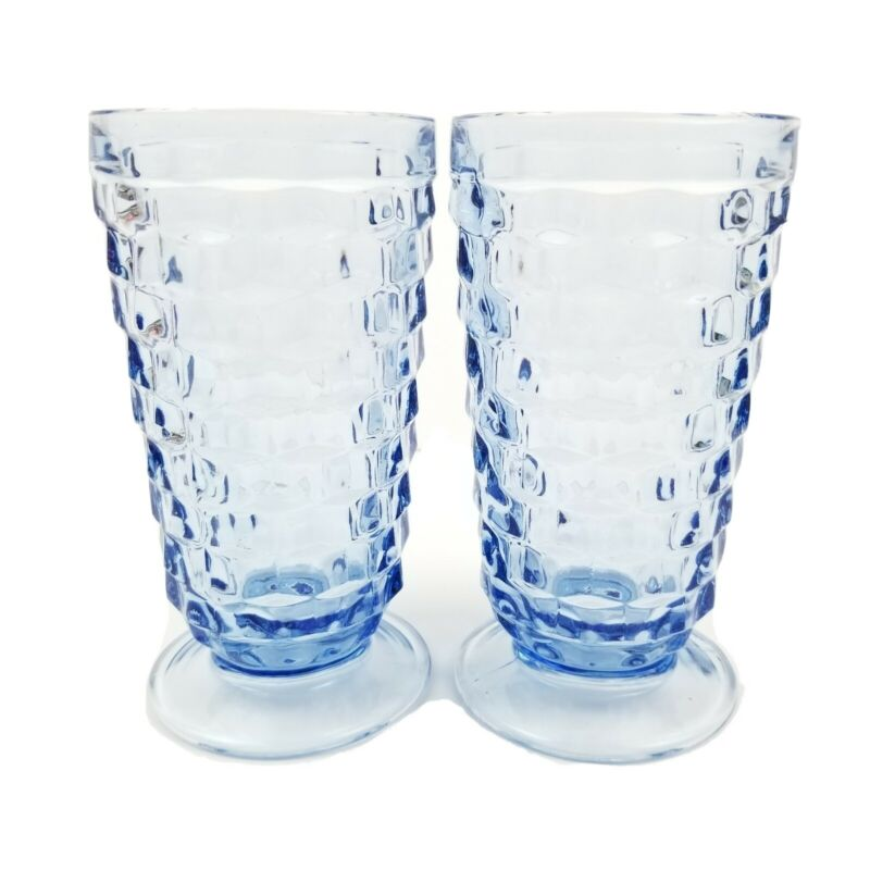 Pair of Indiana Whitehall Drinking Glasses Tumblers Footed Cubist Blue Set of 2