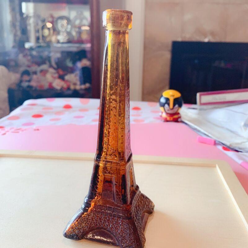 Vintage brown Glass Eiffel Tower Bottle/Decanter collection Paris France