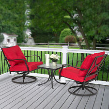 Outsunny 3PCs Outdoor Metal Coffee Table 360° Swivel Rocking Chair Red