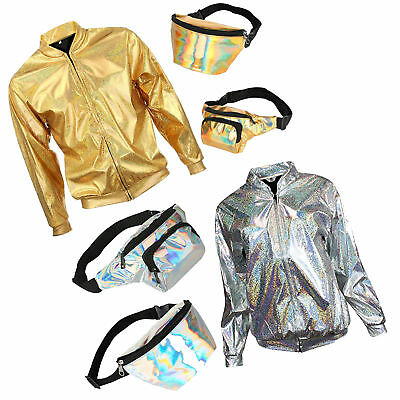 Shiny Sun Holographic Silver Rave Festival Student Party Summer Jacket Bum (Bum Kostüme)