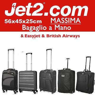 JET 2 56x45x25cm MASSIMA Grande Cabina Bagaglio a Mano Valigia Trolley Easyjet