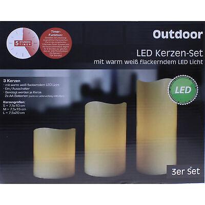 3er Set LED Kerze Kerzen mit Timer Batterie für Außen Outdoor Licht flackernd