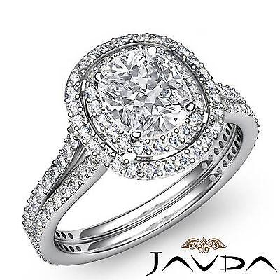 Cushion Diamond Engagement Antique Halo Ring GIA F SI1 14k White Gold 2.55 ct