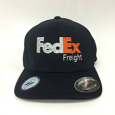 New FedEx Freight Cap Flexfit Hat Yupoong Cool&Dry Pique Mesh Dark Navy S/M Polyester Pique Mesh