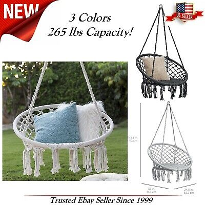 Indoor Outdoor Hanging Cotton Macrame Rope C Hammock Lounge