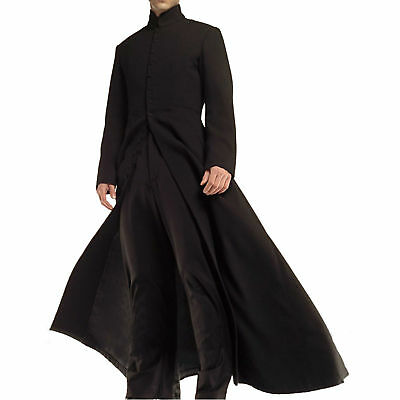 Matrix Neo Cotton/Leather/Faux Keanu Reeves Black Costume Trench Gothic Coat