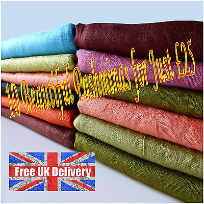 10 Pashminas Shawl Scarf 10 in Assorted Colours Beautiful Patterns Joblot Bulk](Scarves In Bulk)