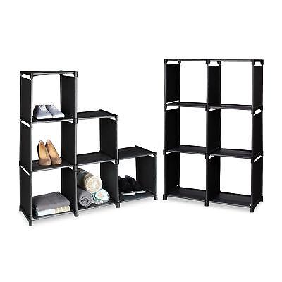 2er Set Stufenregal Raumteiler Stecksystem Treppenregal Standregal schwarz - Regal Teiler Set