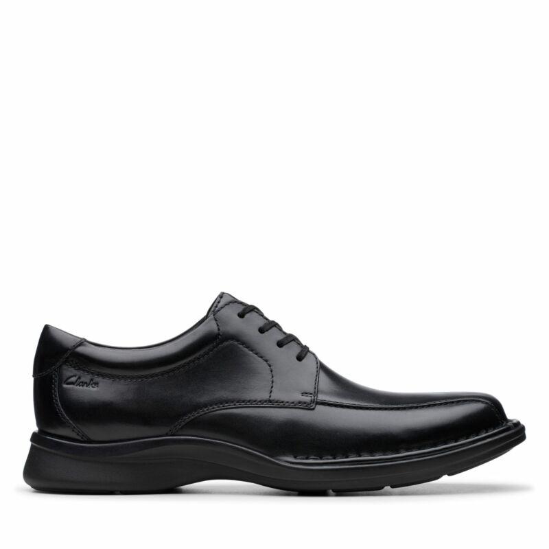 Clarks Mens Kempton Run Black Leather Oxford Shoes