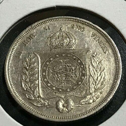 1865 BRAZIL 500 REIS SILVER HIGH GRADE COIN