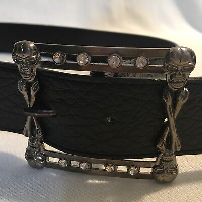 Leather Skull Belt Buckle (Skull Bones Belt Buckle on Black Leather Belt Halloween Costume Pirate 3)