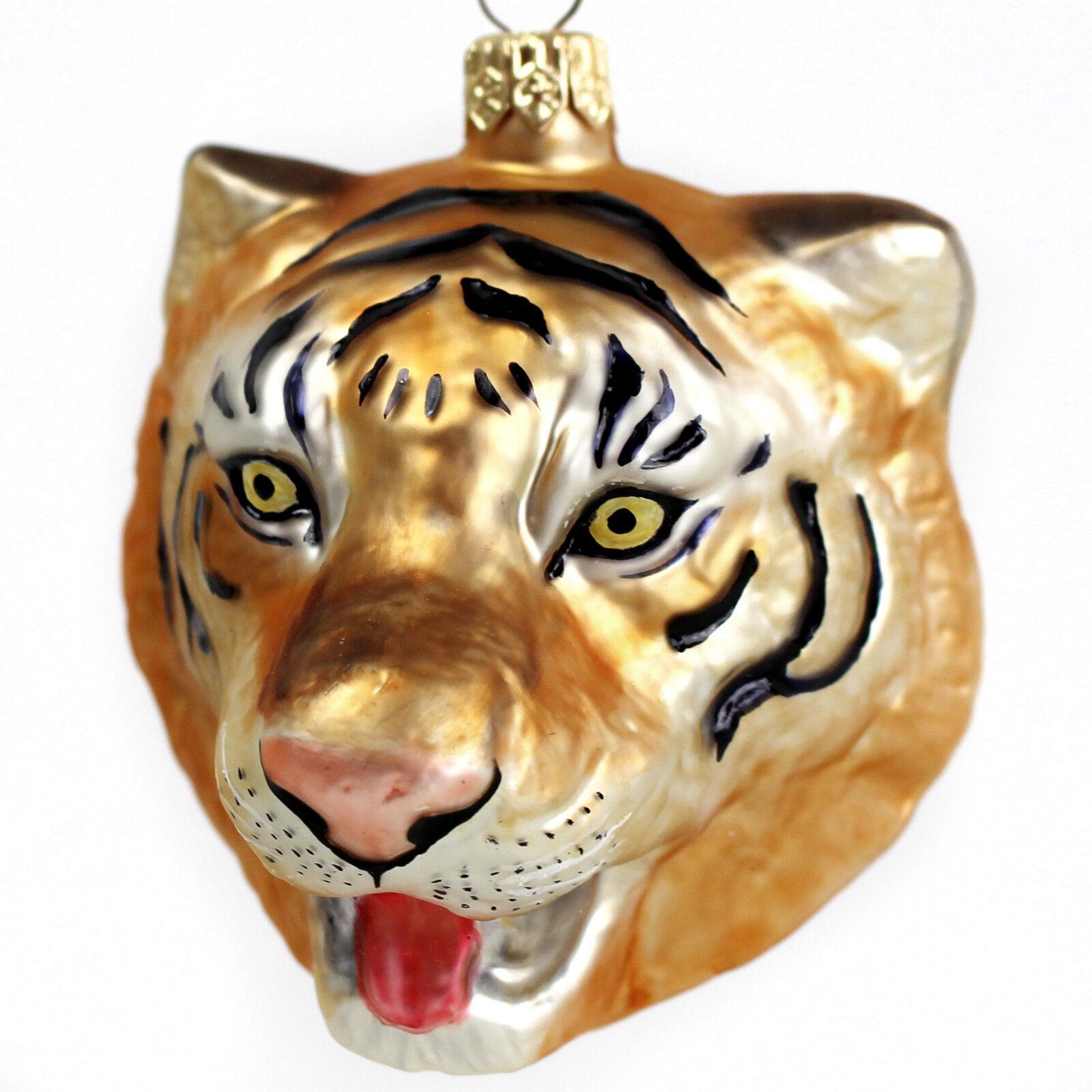 Dom i Meble Weihnachtsdeko Aufhänger Glasfigur Glastier Tiger Glas Figur Christbaumschmuck Jahreszeitliche Dekoration
