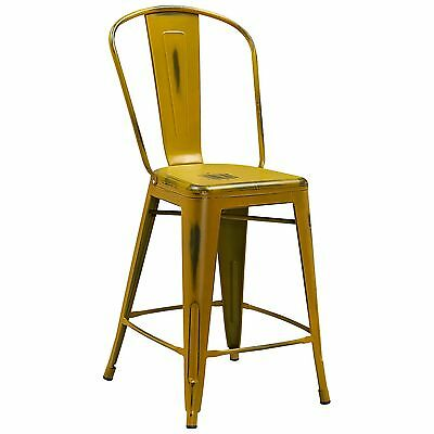 """Tolix Style Metal Distressed Yellow Industrial Restaurant 24"""" Counter Stool"""