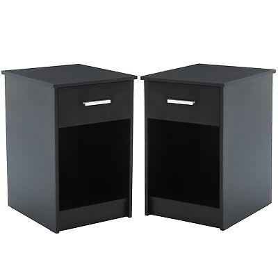 Sombre Modern Design 2Pcs Nightstands End Table Shelf Drawer Bedroom Furniture