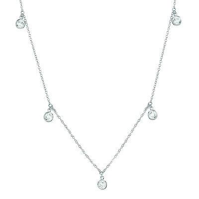 CRISLU Drop Bezel Necklace Finished in Pure Platinum- Brand New on SALE-.16-18