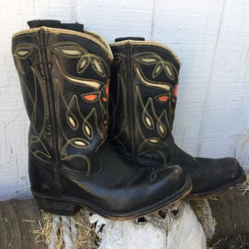 GREAT! VINTAGE 1940s Children's ACME SQUARE-TOE COWBOY BOOTS w/LONGHORN INLAYS