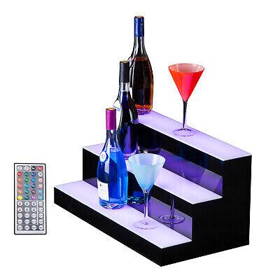 24 3 Step Tier Led Lighted Back Bar Glowing Liquor Bottle Display Shelf Glowing