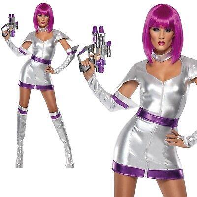 Space Cadet Costume Womens Ladies Sci Fi Spaceman Astronaut Fancy Dress (Sci Fi Fancy Dress Kostüm)