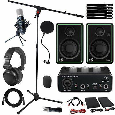 Behringer UM2 2x2 USB Home Audio Recording Interface w Mic & CR3-X Speakers