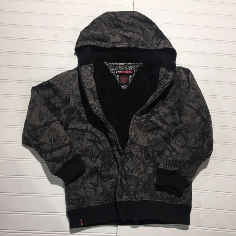 TONY HAWK Zip Up Hoodie Sherpa Lined Boys Youth Size (8) Small Gray & Black