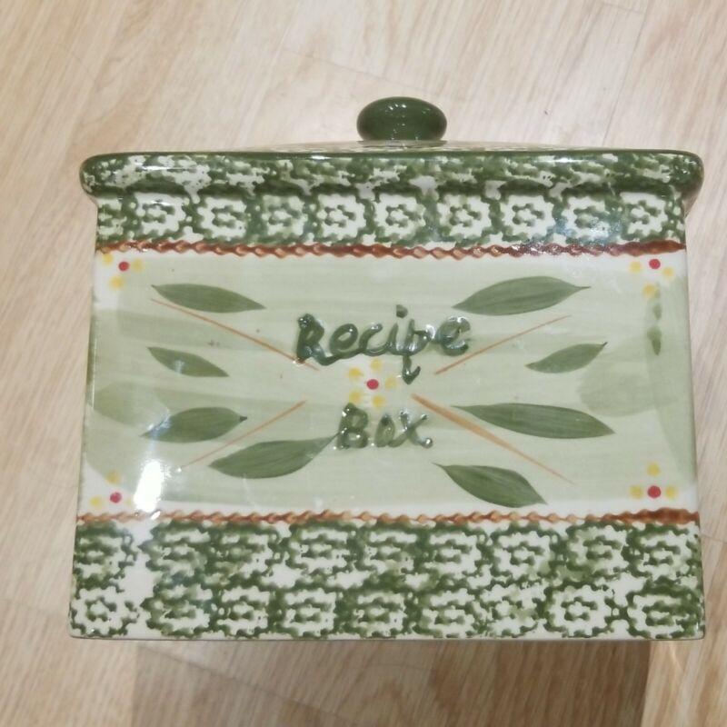 RARE & HARD TO FIND RECIPE BOX Temp-tations By Tara Old World Green 2pc Free Shi