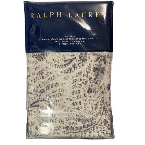 "Ralph Lauren Dover Street Gwendolyn King Pillow Sham $215 NIP 20×36"" Grey Floral Bedding"