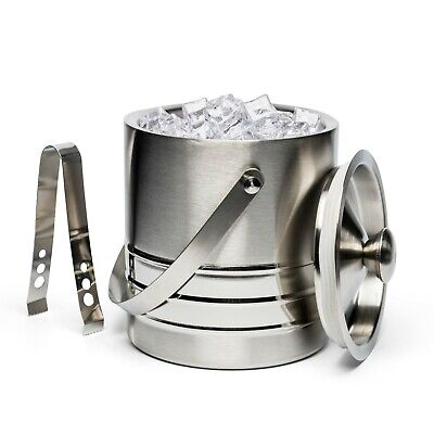 New Inbox Ice Bucket w/ Tongs  High Quality Stainless Steel Three Ribbed