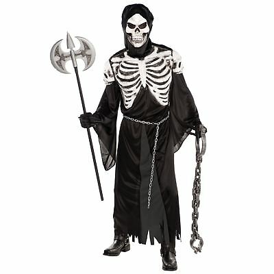 Deluxe Grim Reaper Costume Mens Halloween Fancy Dress Skeleton Day of the - Reaper Deluxe Kostüm