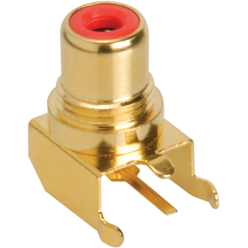 RCA Jack PCB Mount Gold Plated Right Angle Red