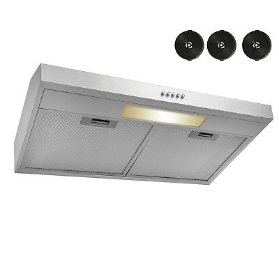 "30"" Under Cabinet Stainless Steel Push Control Kitchen Range Hood Carbon Filter"