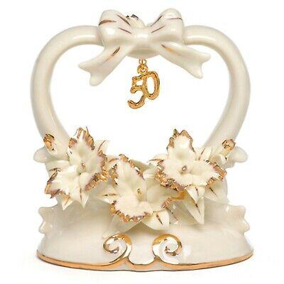 50th Anniversary Cake Topper Porcelain Heart Party Decoration Keepsake MW10366 - 50th Anniversary Cake Topper