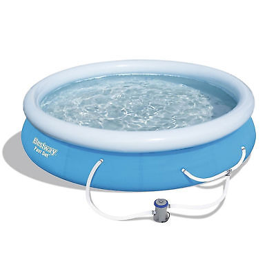 """Bestway 12' x 30"""" Fast Set Inflatable Above Ground Swimming Pool w/ Filter Pump"""