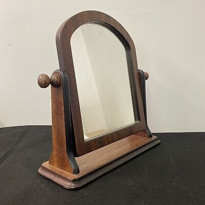 Dressing Table Solid Dark Mahogany Mirror Vintage Tilting 34 x 35cm