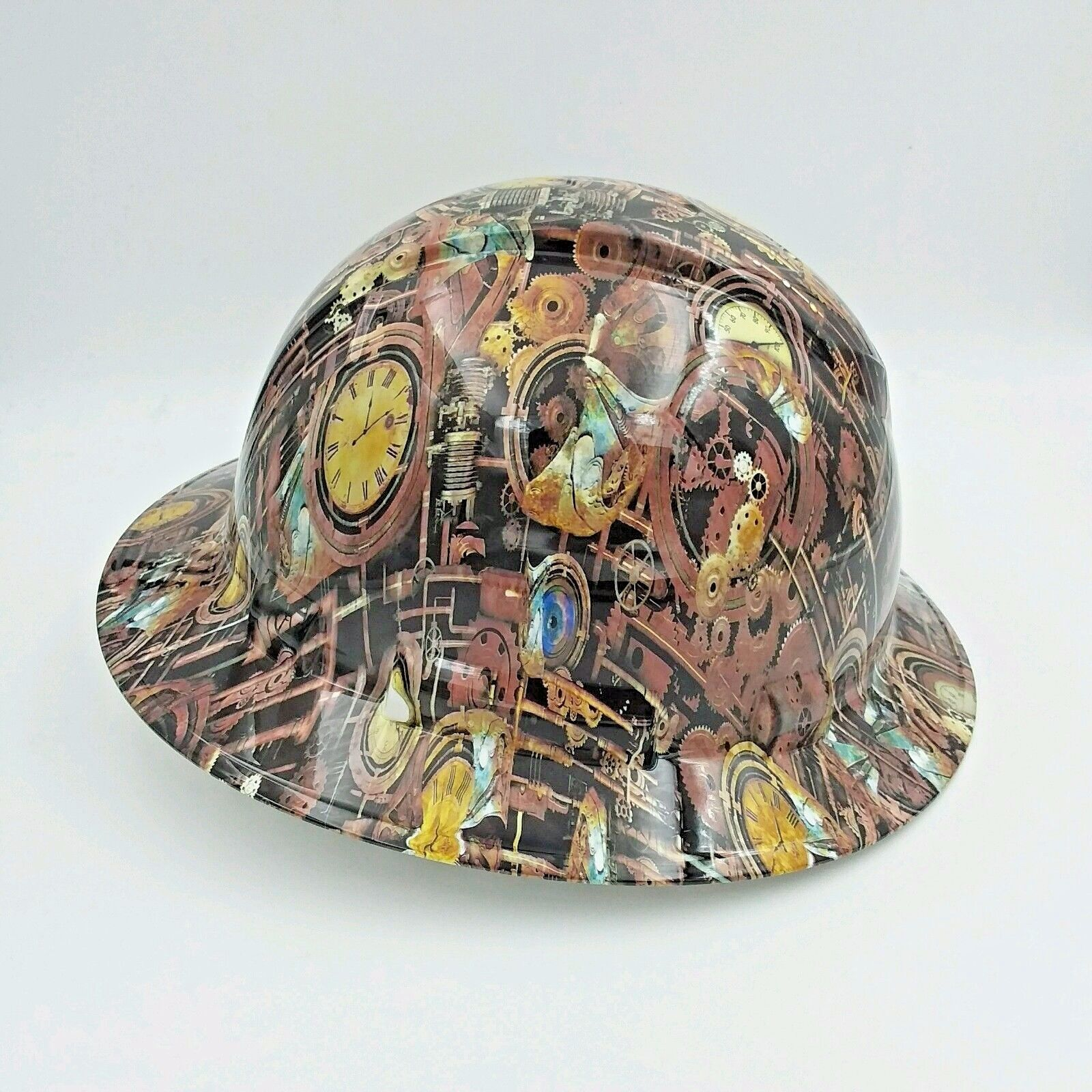 FULL BRIM Hard Hat custom hydro dipped , STEAM PUNK ,ENGINEERING CAMO 2