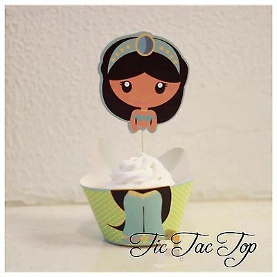 12c Disney Aladdin Jasmine Cupcake Toppers + Wrappers. Party Supplies Lolly - Jasmine Birthday Party Supplies