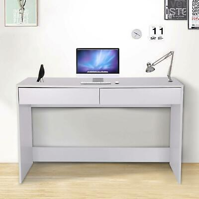 All White Computer Desk Desktop Laptop PC Table Workstation 2 Drawer Home Office