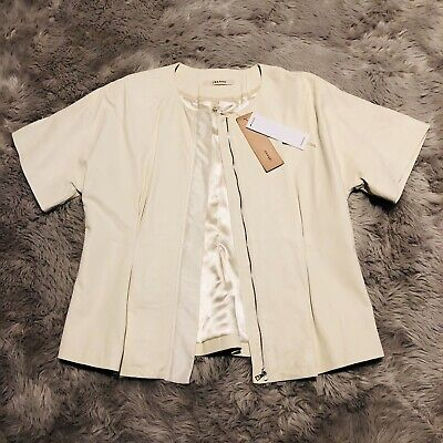 J Brand White Lamb Leather Jacket Pleated Short Sleeve Women's Size Large $1095