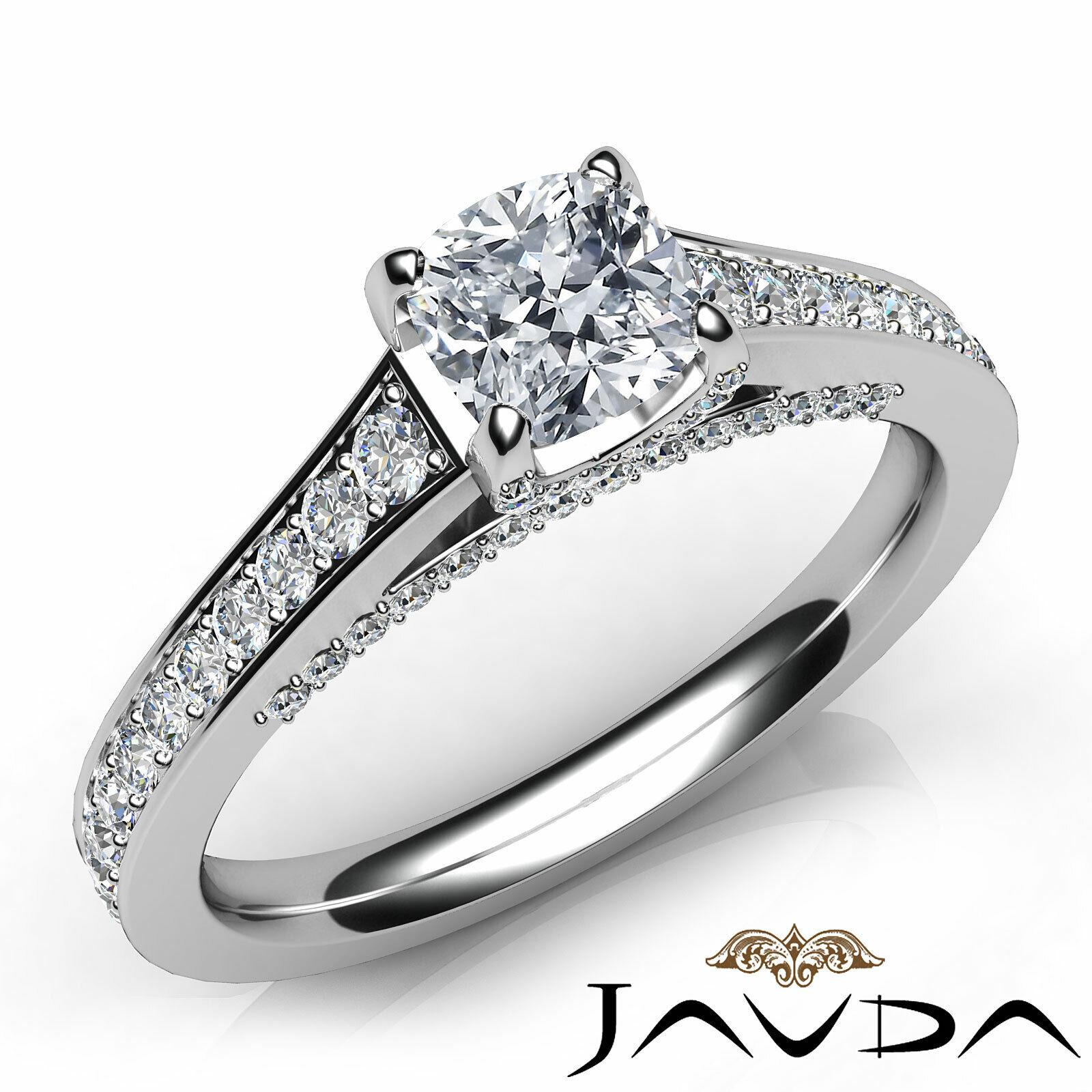Bridge Accent Cushion Diamond Engagement Pave Set Ring GIA G VS1 Clarity 1.25Ct