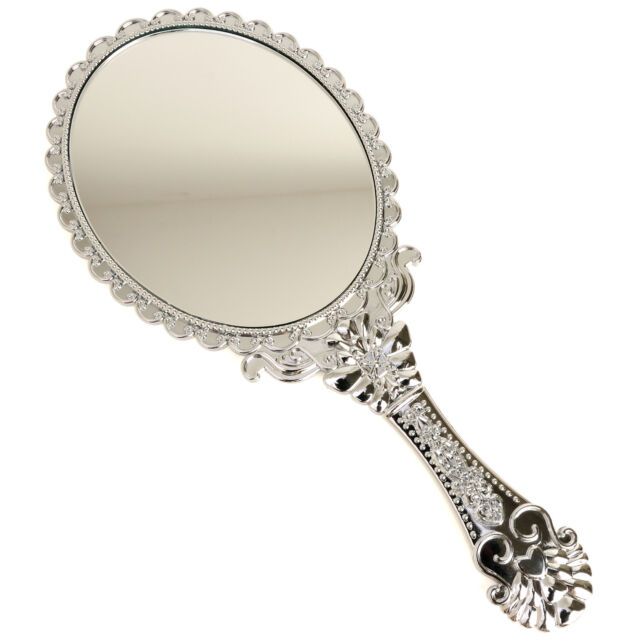 Vintage Style Chic Beauty Cosmetic Make-up Vanity HandHeld Mirror Large Silver