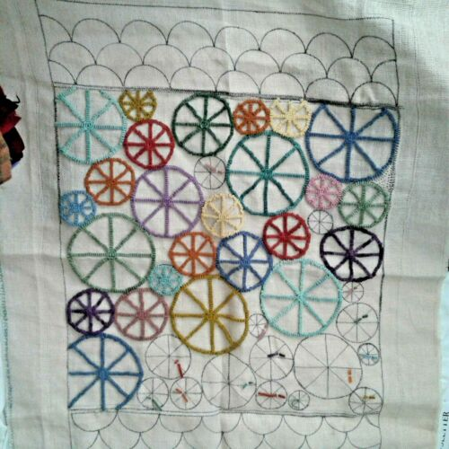 "M PINWHEEL HIT & MISS  Rug Hooking Pattern - Linen 35"" x 24"" INCH - PART STARTED"