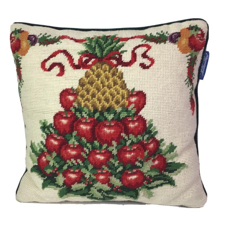 Williamsburg Apple Pineapple Tower Needlepoint Wool / Velvet Throw Pillow 12X12