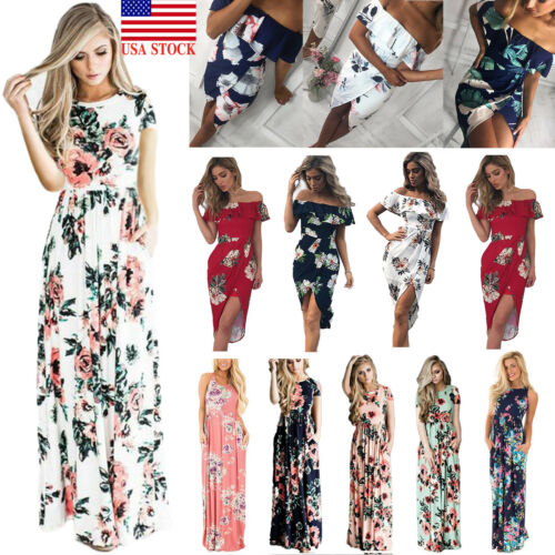 Dress - US Womens Floral Print Long Sleeve Boho Dress Evening Gown Party Long Maxi Dress