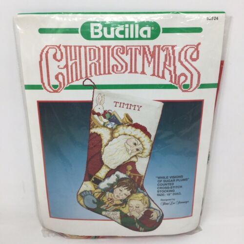 """Bucilla Christmas """"While Visions of Sugar Plums"""" Counted Cro"""
