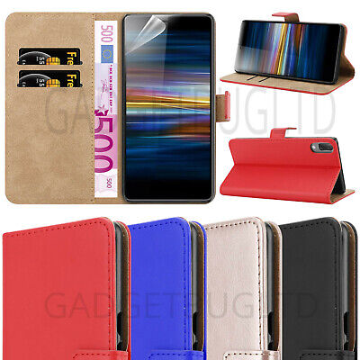 CASE FOR SONY XPERIA L3 REAL GENUINE LEATHER SHOCKPROOF WALLET FLIP COVER