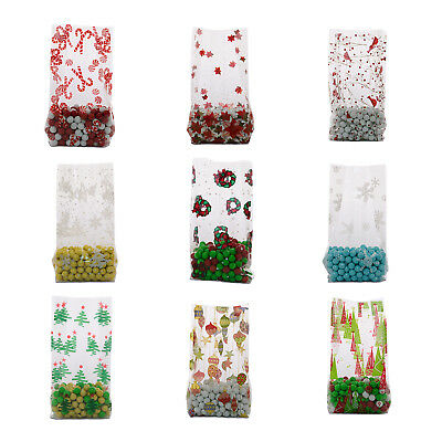 Holiday Cellophane Bags Clear Gusseted 4x9 Medium Size Christmas Treat Favors