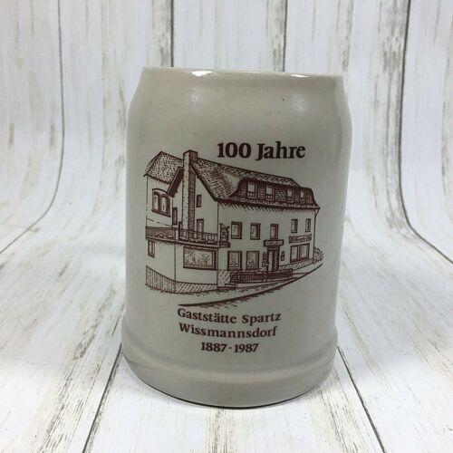 100 Jahre 1987 Stoneware Salt Glaze German Beer Stein Mug .5 Liter Half Liter