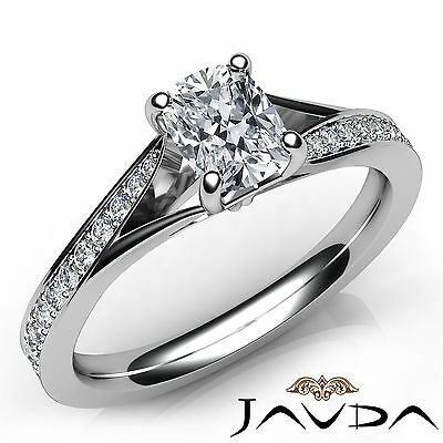 Split Shank Tapered Pave Cushion Diamond Engagement Ring GIA H Color VS2 0.68 Ct