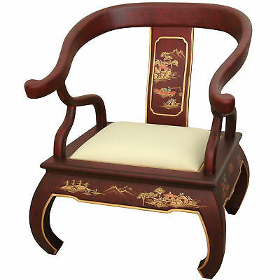 Oriental Furniture Red Landscape Ming Chair