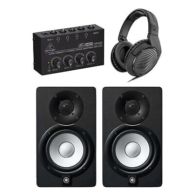 "Yamaha HS5 5"" Powered Studio Monitor Pair Bundle w/ HA400 & HD200Pro Headphones"